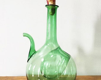 Blown Glass Wine Jug / Emerald Green / with Ice Pocket / Italian Wine Decanter / Old World / Wine Connoisseur / Vintage Glass Jug / Demijohn