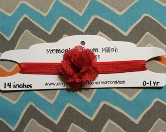 0-1 Year Old Sized Red Polka Dot Chiffon Flower Headband (14 inches)