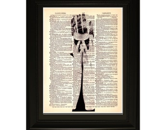 """Knowledge"""".Dictionary Art Print. Vintage Upcycled Antique Book Page. Fits 8""""x10"""" frame"""