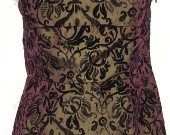 Size 4 Strapless Cut Velvet Brocade Formal Evening/Prom Dress/Gown