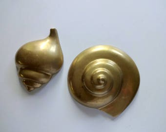 Vintage Brass Nautilus and Conch Wall Art Set 1980s