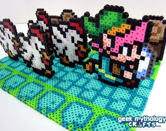 Legend of Zelda Link to the Past - Link Running From Cuccos - Video Game Gamer Party Wedding Centerpiece Decoration with 12 Inch Base