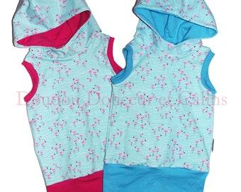 Flamingo Pink, pink or blue tank Hoodie