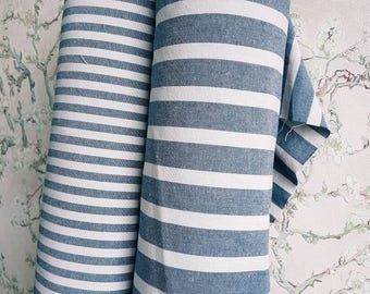 Traditional stripe fabric in wide and narrow version blue/grey stripes 160 cm wide