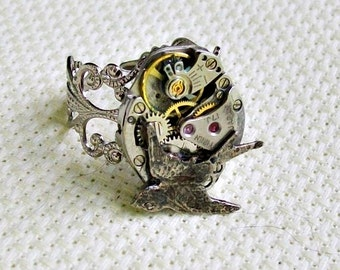 Hammered Bird Steampunk Silver Ring EXCLUSIVE DESIGN
