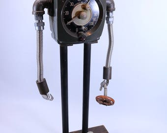 found object SAD ROBOT industrial lamp sculpture ASSEMBLAGE lamp