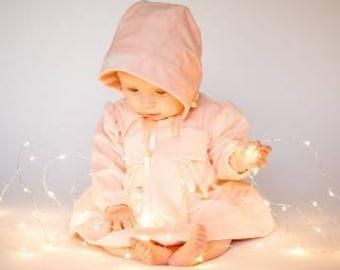 Soft Pink Velvet Dress & Bonnet set, size 0 - 18 mths