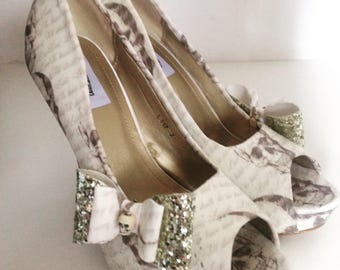 Ladies shoes, ivory skull,wedding script, skull and script, wedding shoes,customised shoes, peep toe shoes, high heel shoes custom colours