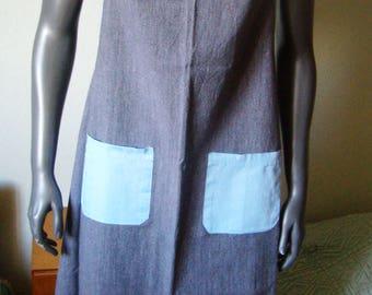 Large Vintage French retro apron, handmade, men apron