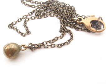 Bronze Ball Necklace - Medium Length Rustic Necklace - Ball Drop Necklace - Gold Ball Necklace - Layered Necklace - Free Shipping SALE