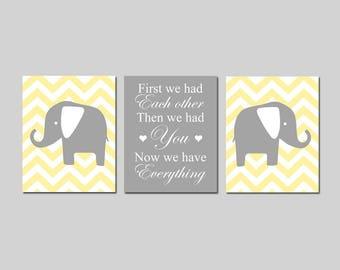 Yellow Nursery Decor Elephant Nursery Decor Chevron Elephant Nursery Art First We Had Each Other - Set of 3 Prints - CHOOSE YOUR COLORS