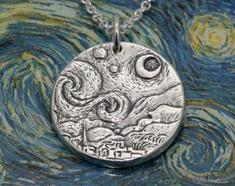 Starry Night Sterling Silver Pendant – Sterling Silver Necklace – Sterling Silver Jewelry Gift – Van Gogh Moon Pendant Starry Night Pendant