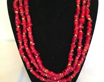 Multi Strand Necklace/Red Coral Beaded Necklace
