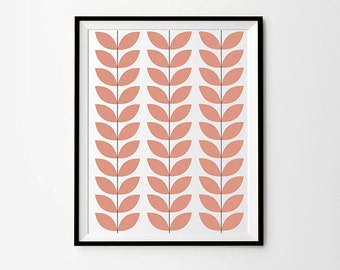 Scandinavian Leaves Print, 5 x 7 in, 8 x 10 in, 11 x 14 in, Pink Wall Decor, Leaf Print, Pink Artwork, Pink Printables, Pink Art Print
