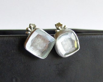 Small Square Aquamarine Stud Earrings - March Birthstone - Aquamarine Jewelry
