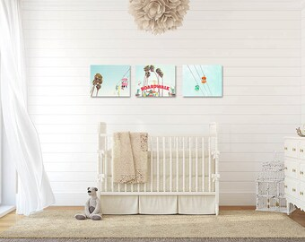 Santa Cruz Wall Art, Gallery Wall Set, California Decor, Nursery Room, Kids Room, Three Art Prints, Santa Cruz Boardwalk Fun Bright Wall Art