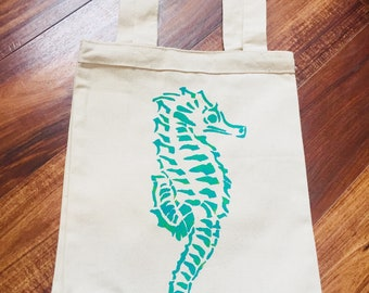 Blue green seahorse canvas reusable tote bag, eco-friendly seahorse reusable shopping bag, seahorse beach bag, seahorse book bag