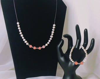 Pink Hearts and Fresh Water Pearls make-up this beautiful jewelry set for Valentine's Day
