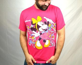 Vintage 80s 90s Minnie Mickey Mouse Disney California Disneyland Souvenir Pink Tee Shirt Tshirt