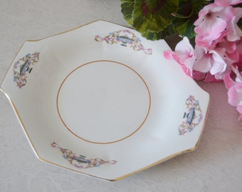 OCTAGONAL PORCELAIN PLATE Vintage Plate Blues and Pink Gold Trim Jewelry Tray Soap Dish