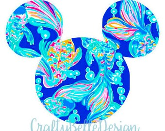 Disney Decal | Lilly Pulitzer Inspired Disney Decal | Mickey Mouse | Disney Monogram | Lilly Pulitzer Inspired Monogram | Circle Monogram