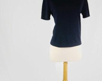 Vintage 80's Jacqueline Ferrar Short Sleeve Black Collarless Blouse Women's