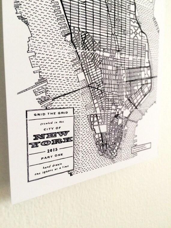 Mapa dibujado de la mano de blanco y negro Nueva York