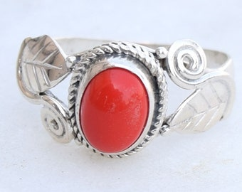 Coral Ring. Coral Stone Ring, Red Stone Ring, Sterling Silver Ring
