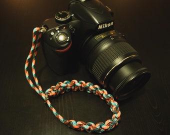 Paracord Camera Wrist Strap - Orange/Blue