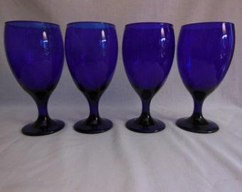 Cobalt Blue Goblets Cobalt blue Water Glasses Blue Stemware Libbey Glass Co.