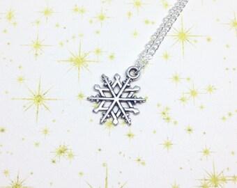 Snowflake Necklace, Festive Necklace, Snowflake Pendant, Silver Snowflake Necklace, Winter Necklace, Snowy Jewellery, Festive Jewellery