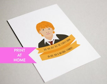 Ron weasley card etsy ron weasley did you just use stupify charm or are you a natural stunner bookmarktalkfo Image collections