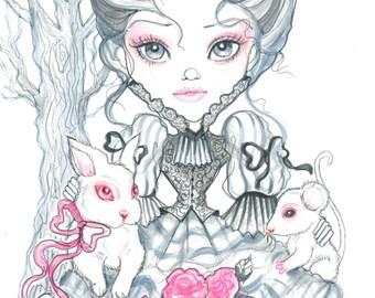 Fantasy Art Printable Page - Digital Download - Fantasy Art - Victorian Girl in Pink and Grey by Leslie Mehl Art