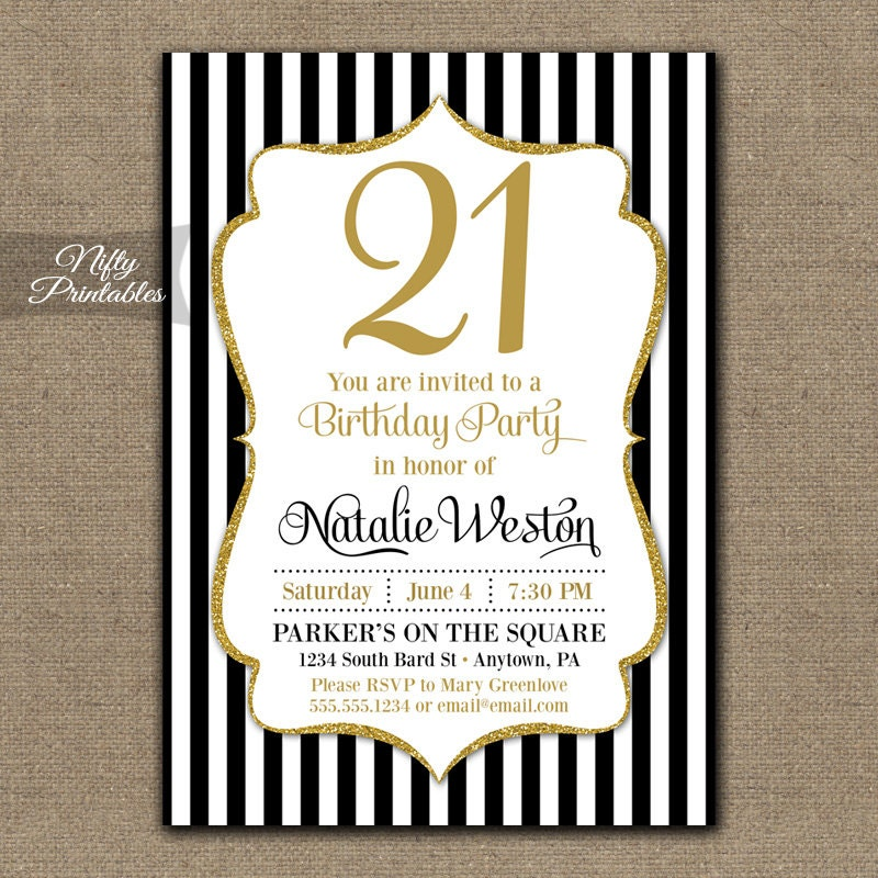 21st Birthday Invitations Black & Gold Glitter Twenty