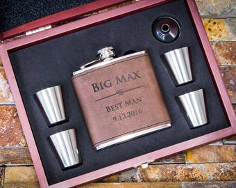 Groomsmen Gift, Groomsmen Flask, Personalized Flask, Groomsmen Gift Flask, Flasks for Men, Groomsman Gift, Engraved Flask, Leather Flask
