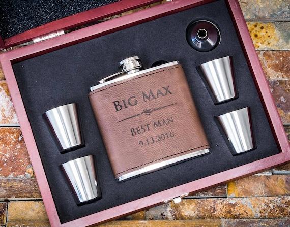 Leather Groomsman Flask Gift Set