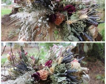 dried flower bouquet, lavender bridal bouquet, pink bridal bouquet, blush bouquet, rustic bouquet, wheat bouquet, beige bouquet, neutral