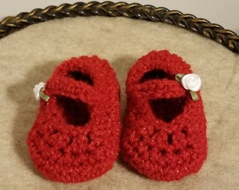 Red Booties/Red Mary Jane Booties/Red Crib Shoes/Crochet Booties/READY TO SHIP/Baby Booties/Baby Girl Booties