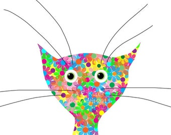 Colorful Cat Print - Kitten Print - Flower Cat -  8x10 Print - Cat Art - Gift for Cat Lover