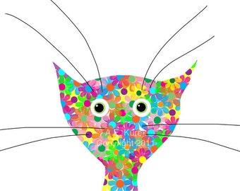 Colorful Cat Print - Kitten Print - Flower Cat -  8x10 Print - Cat Art - Gift for Cat Lover