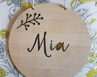Personalised Wooden Wall / Door Hanging 14cm or 19.5cm-wall hanging-wall art-wooden sign-custom name-kids gift-baby gift-lasercut
