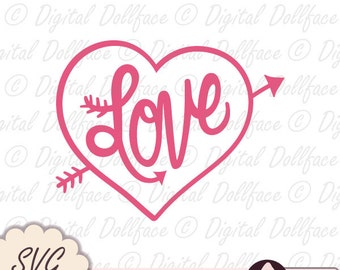 Valentine SVG, Love SVG, Heart and Arrow SVG cutting files / downloads / digital cut files: for cardmaking & paper crafts