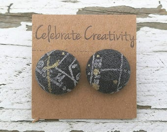 """Fabric Button Post Stud Earrings - Grey Gray Silver Gold Abstract Modern - 5/8"""""""