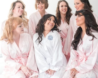 BLUSH SATIN ROBES - Bridesmaid Robes - Bridal Party Robes - Satin Bridal Robe - Bridesmaid Gifts - Satin Wedding Robes - Satin Kimono Robes