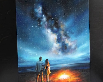 Original oil painting-Hand painted landscape-Realistic landscape - Milky way - Love - Fire - Night sky