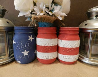 American Flag Mason Jar Set