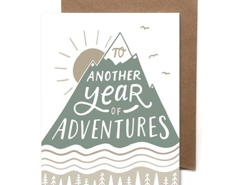 Another Year Of Adventures // Letterpress Card // Birthday Card //  Anniversary Card // Adventure Card // HeartSwell