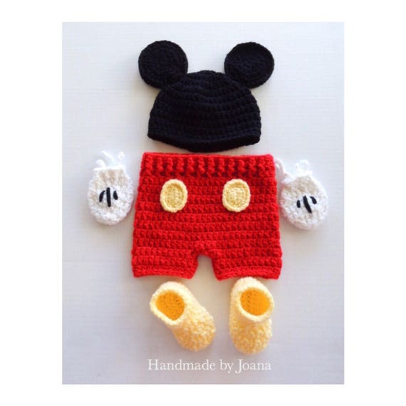 Crochet Baby Mickey Mouse Costume Baby Set Mickey Mouse Hat
