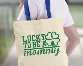 """Lucky To Be A Mommy Canvas Tote Bag. Clover Bag. Irish Mommy.  Pregnancy. Irish Tote Bag. Funny Quotes. St. Patrick""""s Day Bag. Funny Gift."""