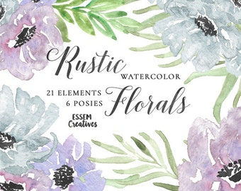 Purple Watercolor Flowers Clipart Leaves Winter Wedding Invitation Anemone Watercolour